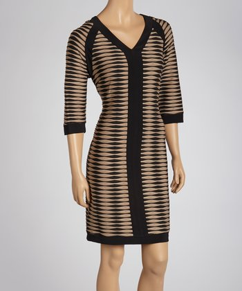 Black & Tan Abstract Stripe Dress