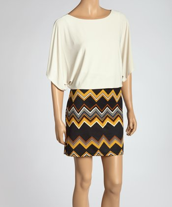Ivory & Gold Zigzag Dress