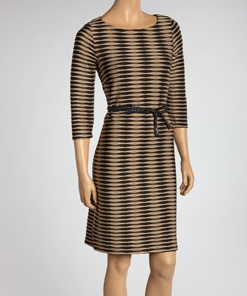 Black & Tan Abstract Stripe Belted Dress