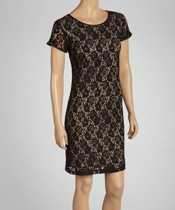 Black & Champagne Lace Shift Dress