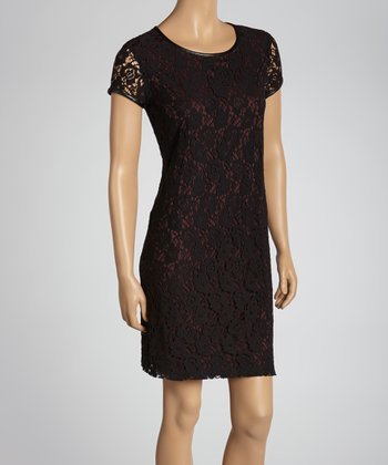 Black & Wine Lace Shift Dress