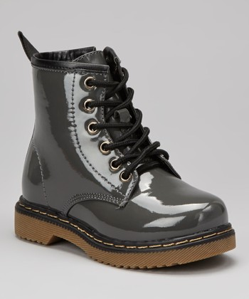 Gray Patent Jane Boot