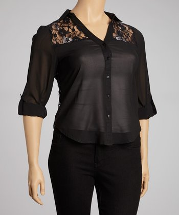 Black Sheer & Lace-Back Button-Up - Plus