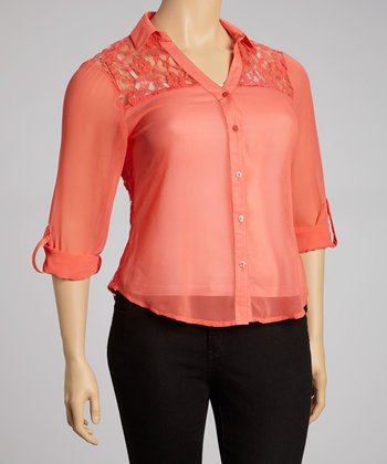 Coral Sheer Lace-Back Button-Up - Plus