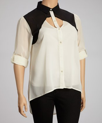 Ivory & Black Cutout Button-Up Top - Plus