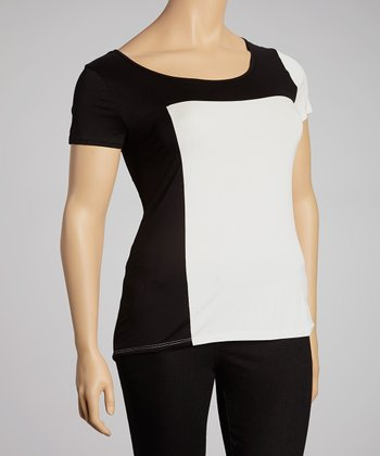 Black Color Block Top - Plus