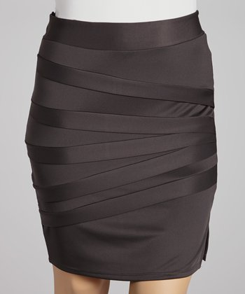 Charcoal Fan Miniskirt - Plus