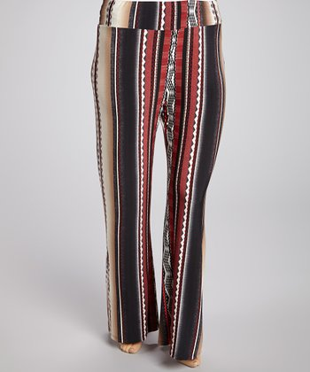Coral Stripe Pants - Plus