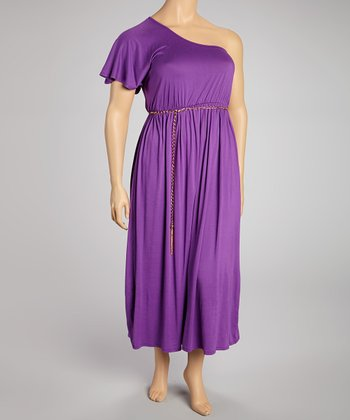 Purple Chain Asymmetrical Maxi Dress - Plus