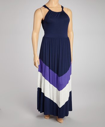 Navy & Purple Maxi Dress - Plus