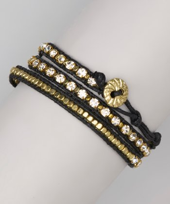 Gold & Black Sparkle Wrap Bracelet