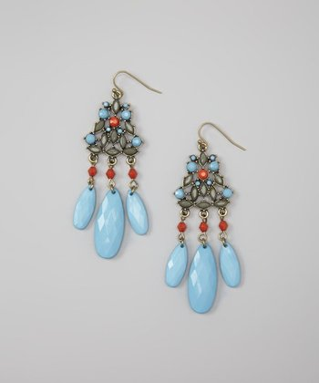 Turquoise & Orange Drop Earrings