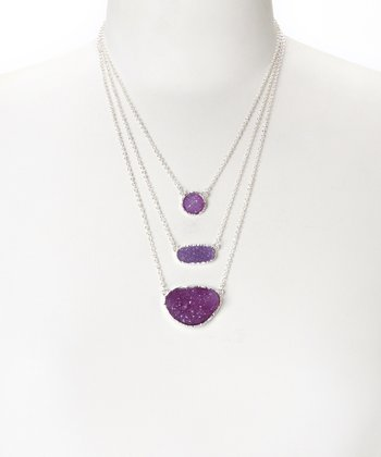 Purple Druzy & Silver Pendant Necklace
