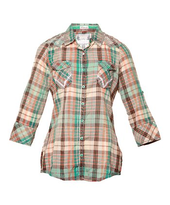 Green Plaid Providence Button-Up - Women