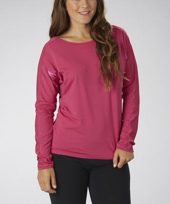 Wild Berry Cutout-Back Long-Sleeve Top