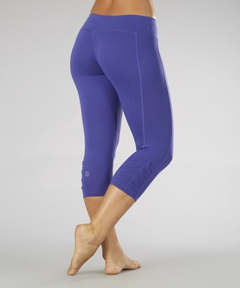 Spectrum Blue Pleated Capri Leggings