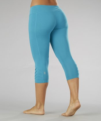 Caribbean Sea Pleated Capri Leggings