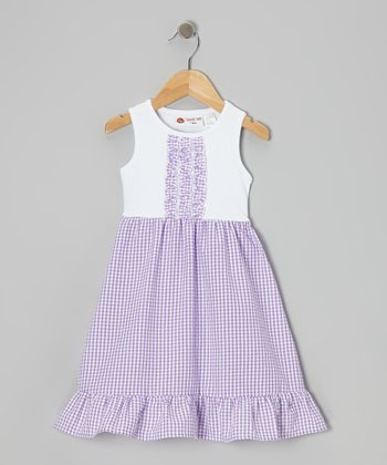 White & Purple Gingham Lily Dress - Infant, Toddler & Girls