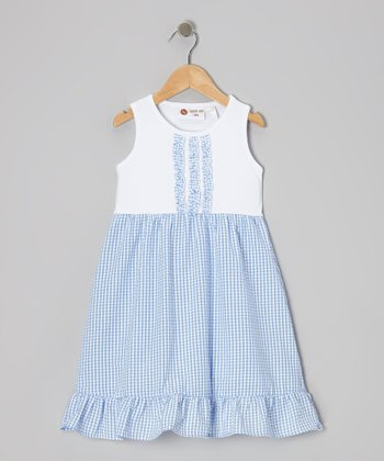 White & Blue Gingham Lily Dress - Infant, Toddler & Girls