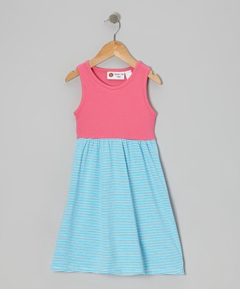 Hot Pink & Aqua Stripe Lily Dress - Infant, Toddler & Girls
