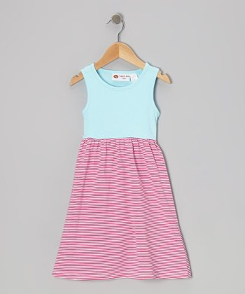 Aqua & Hot Pink Stripe Lily Dress - Infant, Toddler & Girls