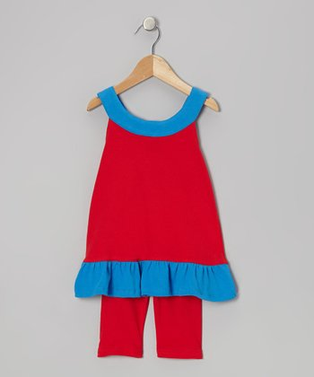 Red & Blue Yoke Tunic & Leggings - Infant, Toddler & Girls