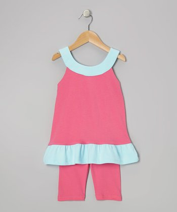 Hot Pink & Aqua Yoke Tunic & Leggings - Infant, Toddler & Girls