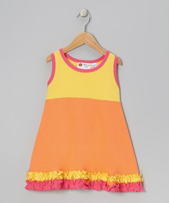 Yellow & Orange Ruffle Swing Dress - Infant