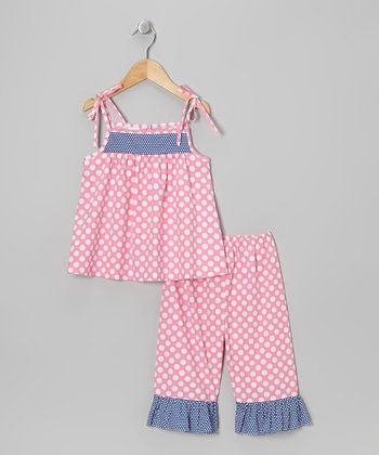 Pink & White Polka Dot Tunic & Capri Pants - Toddler & Girls