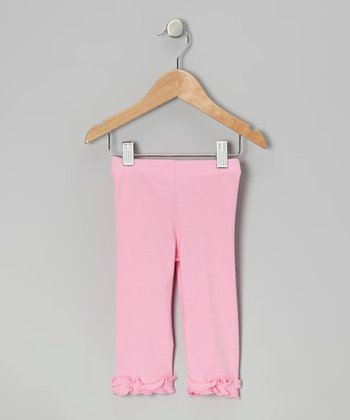 Bubble Gum Pink Ruffle Capri Leggings - Infant, Toddler & Girls