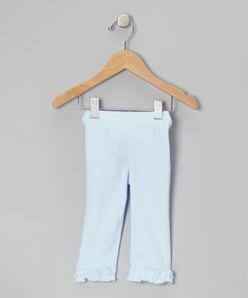 Light Blue Ruffle Capri Leggings - Infant, Toddler & Girls