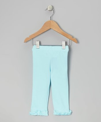 Aqua Ruffle Capri Leggings - Infant, Toddler & Girls