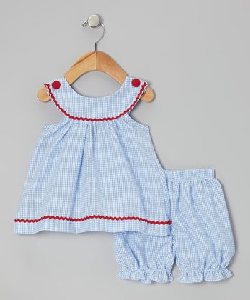 Blue Gingham Yoke Top & Bloomers  - Infant & Toddler