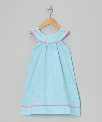 Aqua Gingham Yoke Dress - Toddler & Girls