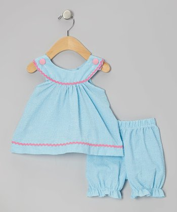 Aqua Gingham Yoke Tunic & Bloomers - Infant