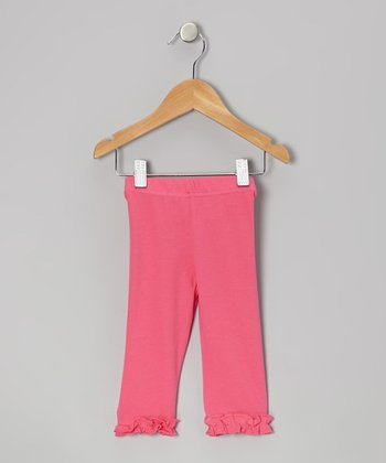 Hot Pink Ruffle Capri Leggings - Infant, Toddler & Girls