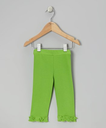 Green Ruffle Capri Leggings - Toddler & Girls