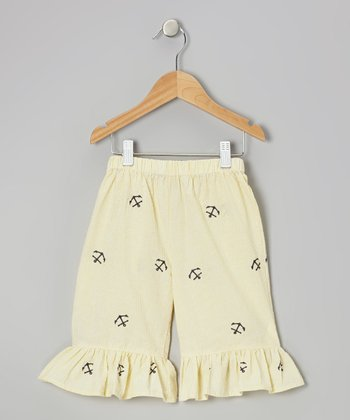 Yellow Anchor Ruffle Capri Pants - Toddler & Girls