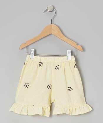 Yellow Anchor Ruffle Shorts - Toddler & Girls