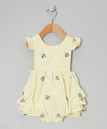 Yellow Anchor Ruffle Bubble Sunsuit - Infant & Toddler