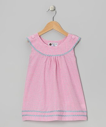 Pink & Aqua Gingham Rickrack Dress - Toddler & Girls