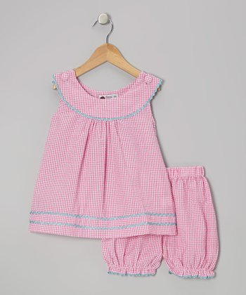 Pink & Aqua Gingham Rickrack Tunic & Bloomers - Infant & Toddler