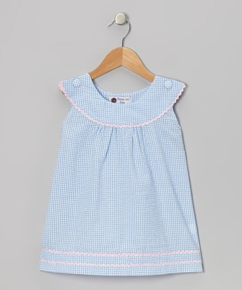 Blue & Pink Gingham Rickrack Dress - Toddler & Girls