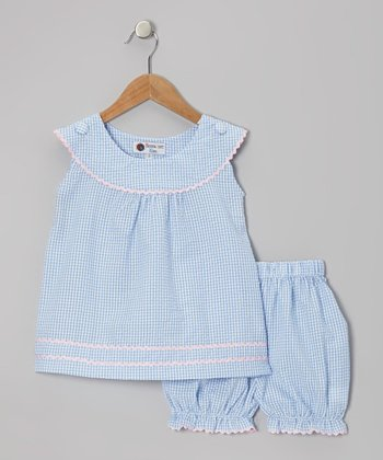 Blue & Pink Gingham Rickrack Tunic & Bloomers - Infant & Toddler