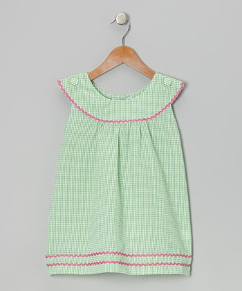 Green & Pink Gingham Rickrack Dress - Toddler & Girls