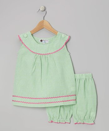 Green & Pink Gingham Rickrack Tunic & Bloomers - Infant & Toddler