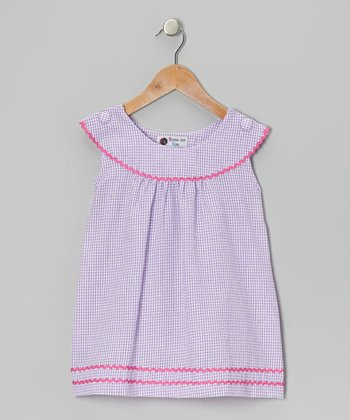 Purple & Pink Gingham Rickrack Dress - Toddler & Girls