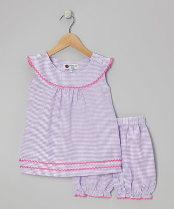 Purple & Pink Gingham Rickrack Tunic & Bloomers - Infant & Toddler