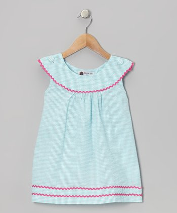 Aqua & Pink Gingham Rickrack Dress - Girls
