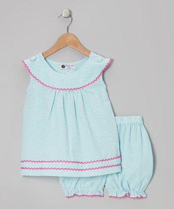 Aqua & Pink Gingham Rickrack Tunic & Bloomers - Infant & Toddler